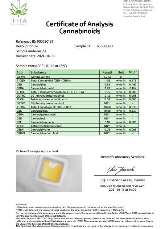 Fullspektrum olej 10 % CBG + 10 % CBD
